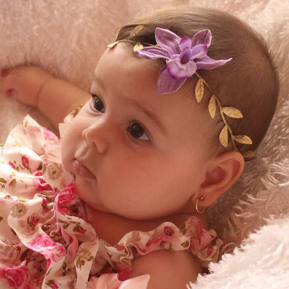 Mythical Purple Flower Headband - Headbands - AllBabyGirls - 1
