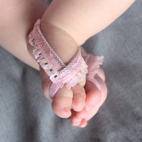 Terrific Pink Lace Baby Barefoot Sandals with Silver - Barefoot Sandals - AllBabyGirls - 1