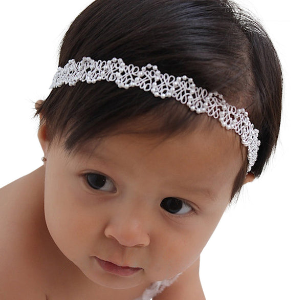 Dainty White Halo Headband with Pearls - Headbands - AllBabyGirls - 1