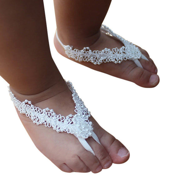 Dainty White Baby Barefoot Sandals with Pearls - Barefoot Sandals - AllBabyGirls - 1