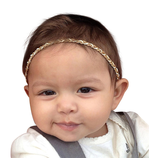 Captivating Braided Gold Halo Headband - Headbands - AllBabyGirls - 1