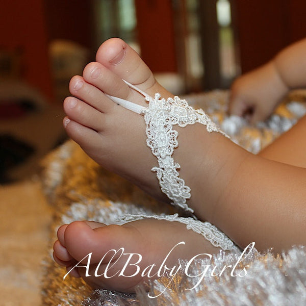 Blooming Flowers White Baby Barefoot Sandals - Barefoot Sandals - AllBabyGirls - 1
