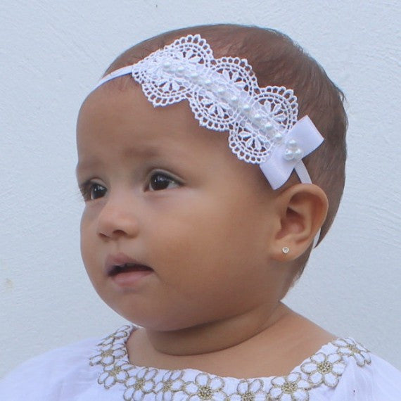 Spectacular White Venice Lace Headband - Headbands - AllBabyGirls - 1