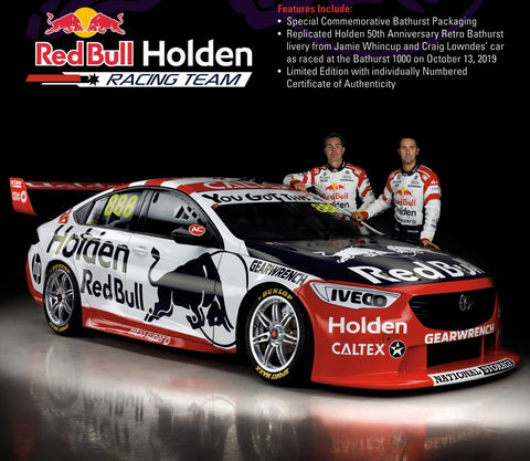 PRE-ORDER 2019 HOLDEN 50TH ANNIVERSARY RETRO LIVERY JAMIE WHINCUP / CRAIG LOWNDES 1:18 / 1:43 / 1:64