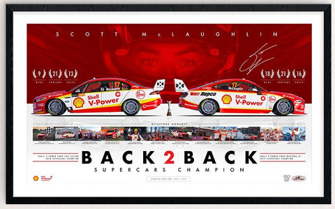 Shell V-Power Racing Team Scott McLaughlin 'Back 2 Back Supercars Champion' Framed and Signed Limited Edition Print (Pre-Order)