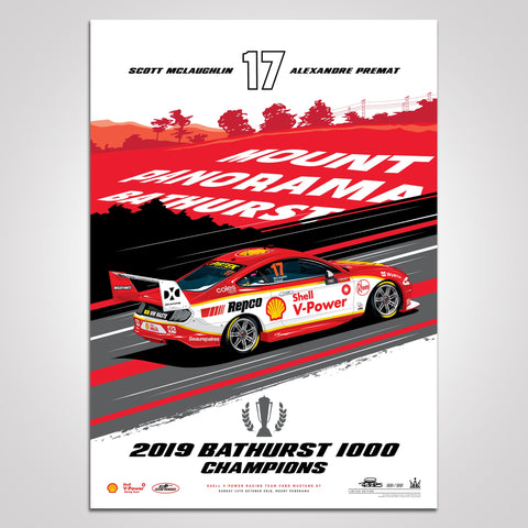 Shell V-Power Racing Team 2019 Bathurst 1000 Champions Limited Edition Illustrated Print (Pre-Order)