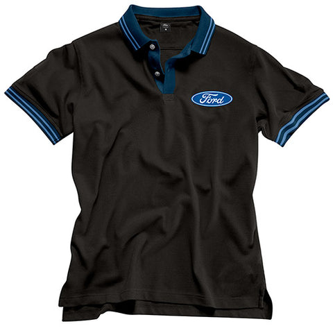FORD BLUE STRIPE MEN'S POLO - BLACK