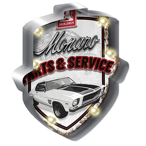 HOLDEN MONARO LIGHT-UP TIN SIGN