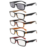 5-pack Spring Hinges Plastic Reading Glasses Eyeglasses Includes Sunshine Readers