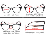 4-Pack Round Full Coverage Ultrathin Flex Frame Reading Glasses Sunshine Readers