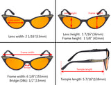 Ladies Blue Light Blocking Glasses with Orange Filter Lens for Sleeping - Cateye Computer Eyeglasses Women