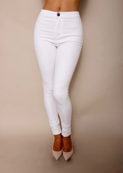 Naked Fashion white high waisted skinny leg stretch jeans