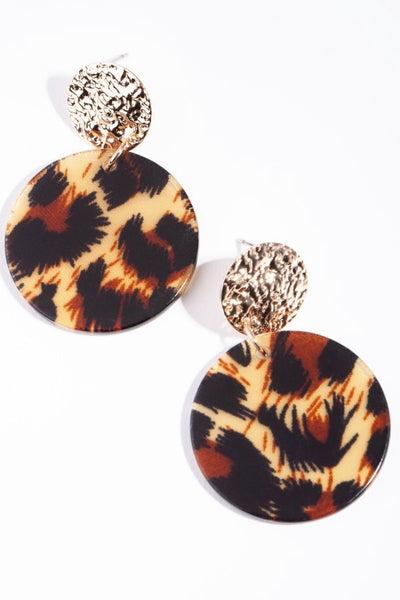 gold leopard disc earring
