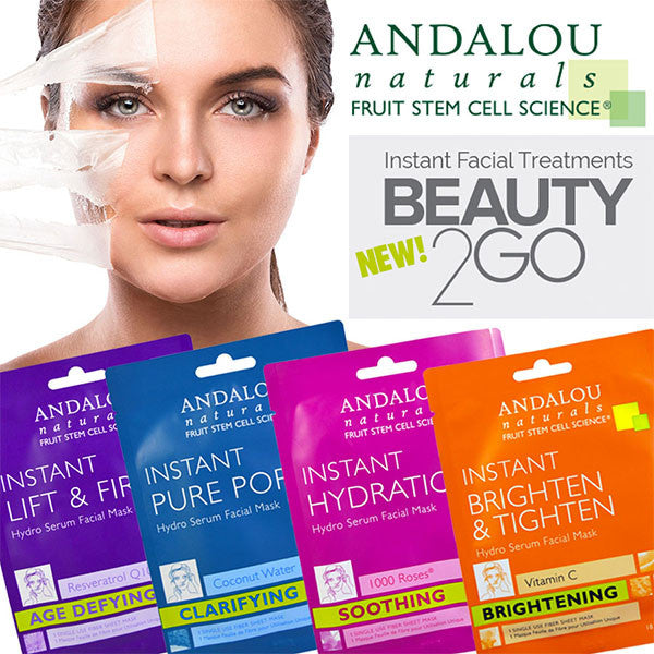 NEW!!! Andalou Naturals Beauty2Go Instant Facial Masks