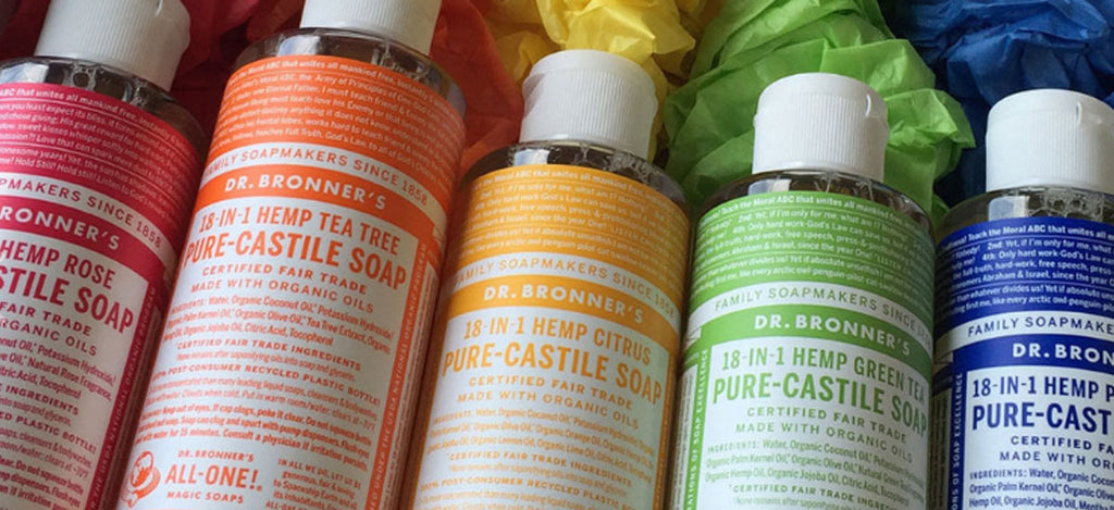 Dr Bronners Pure Castile Liquid Soap Banner - Pamper by Nature