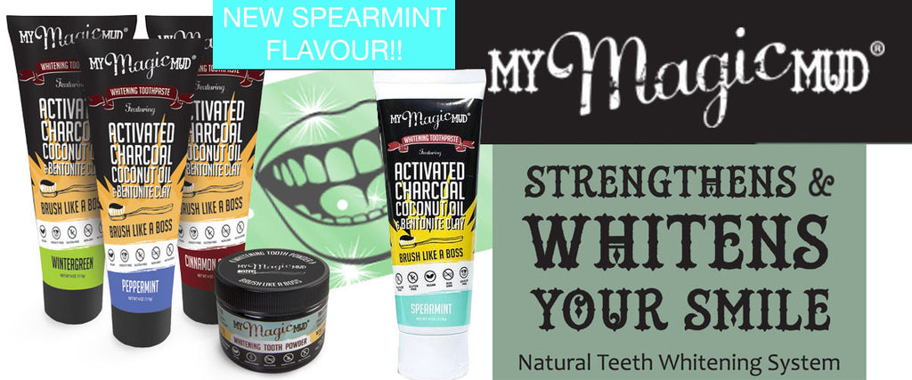 My Magic Mud Toothpaste Banner including New Spearmint Flavour