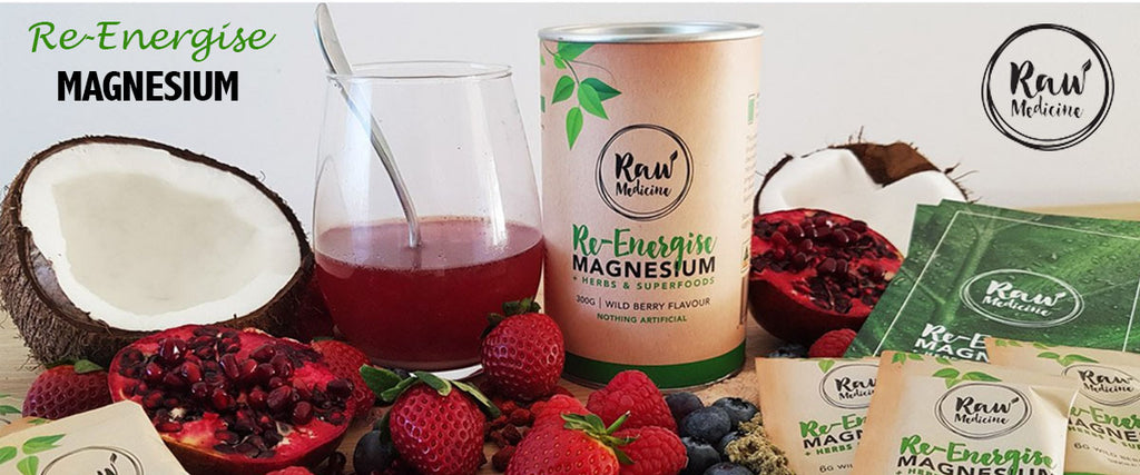Raw Medicine Re-Energise Magnesium + Herbs & Superfoods Wild Berry Flavour