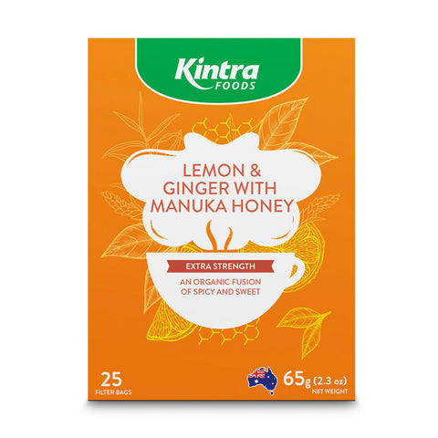 Kintra Foods Herbal Tea Bags - Lemon & Ginger with Manuka Honey