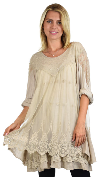 Women Plus Size Lace Blouse Top with Roll Up Sleeves
