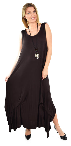 Sleeveless Loose Fitting Maxi Summer Dress in Plus Sizes