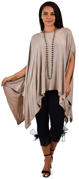 Dare2bStylish Women Versatile Loose Fit Dolman Poncho Tunic Dress Top Cover Up