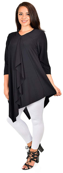 Dare2bStylish Women Plus Size Ruffled Frill Collar Asymmetrical Tunic Top Blouse Shirt