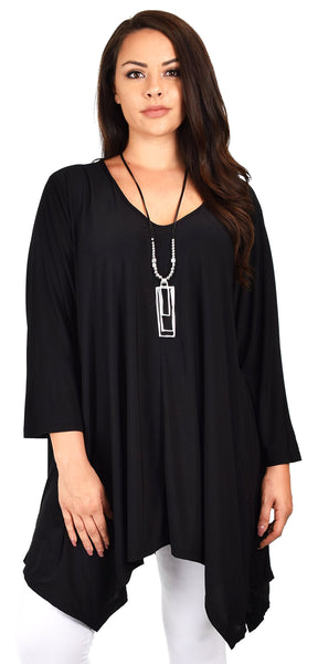 Plus Size Long 3/4 Sleeve Flared Swing Tunic Dress Blouse Top