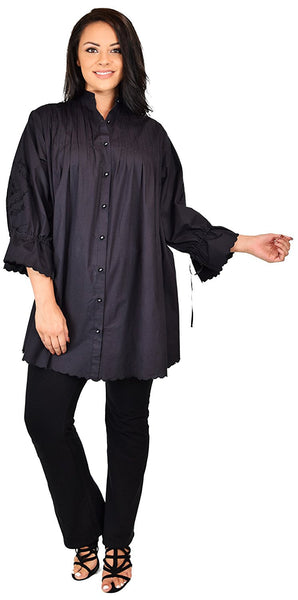 Embroidered Plus Size Oversized Button Down Dress Shirt Blouse