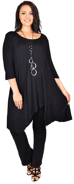 Plus Size Summer Asymmetrical Long Tunic Shirt Dress Top