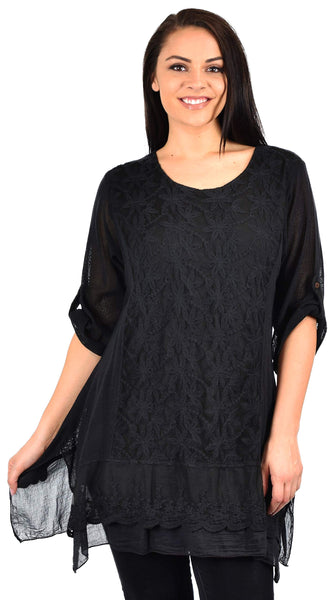 Zopali Women's Plus Size Netted Embroidered Lace Blouse Top w/Roll up Sleeves
