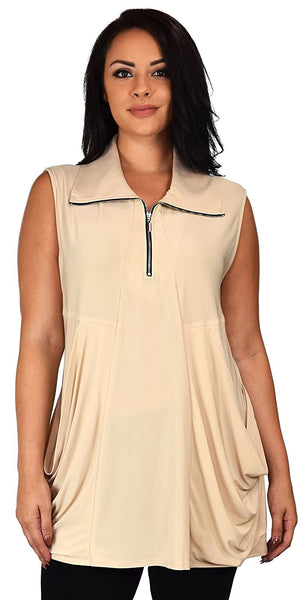 Plus Size Summer Sleeveless Tunic Shirt Top w/ Zipped Collar