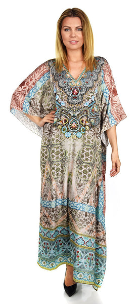 Summer Chiffon Kaftan w/ Embellished Rhinestone Work V Neck | Caftan Dress | Cover Up