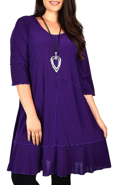 Plus Size Long 3/4 Sleeve Swing Tunic Skirt-Dress Top