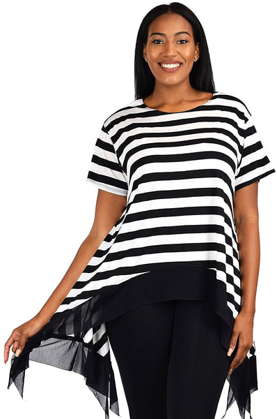 Plus Size Black & White Striped Flared Swing Tunic Dress Top