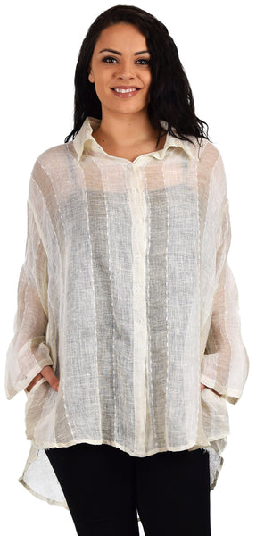 Zopali Women's Linen Gauze High Low Button Down Shirt Top | Regular & Plus Sizes