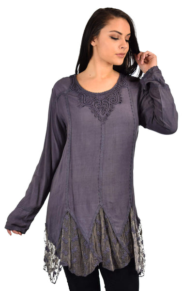 Zopali Women's Plus Size Bohemian Embroidered Lace Shirt Blouse Top