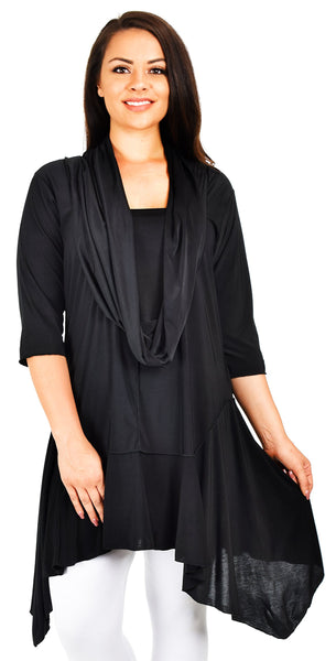 Plus Size Classy Tunic Dress Top with Fixed Front Scarf
