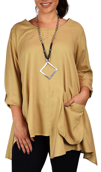Plus Size Swing Tunic Blouse Top with Roll up Sleeves