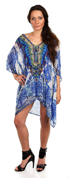 Digital Print Embellished Caftan Kaftan with Neck Drawstring and Rhinestone Work V Neck / Cover Up