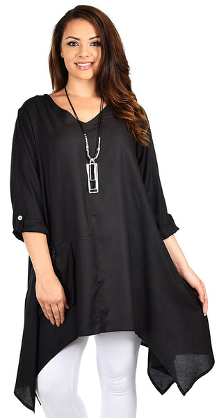 Plus Size Asymmetrical Fishtail Swing Dress Tunic Top