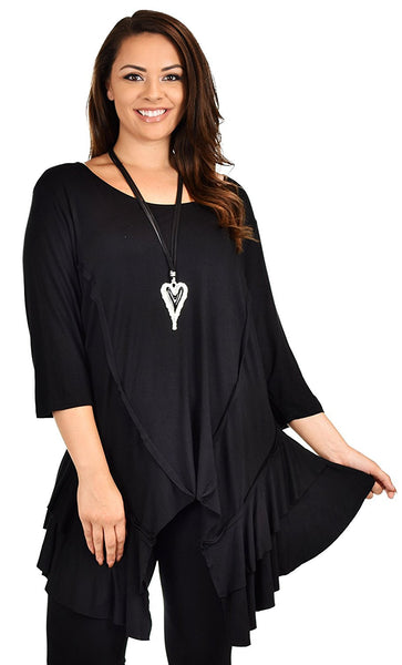 Plus Size Slimming Layered Flared Swing Tunic Dress Top