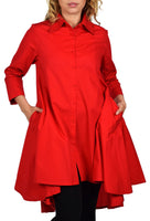 Hi Low Button Down A Line Swing Dress Shirt Top Reg and Plus Sizes