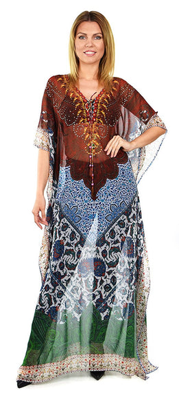 Semi Sheer Chiffon Digital Print Embellished Caftan Kaftan Rhinestone Work V Neck / Caftan Dress/ Cover Up