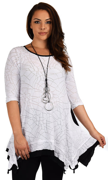 Plus Size 3/4 Sleeve A Line Swing Tunic Dress Blouse Top