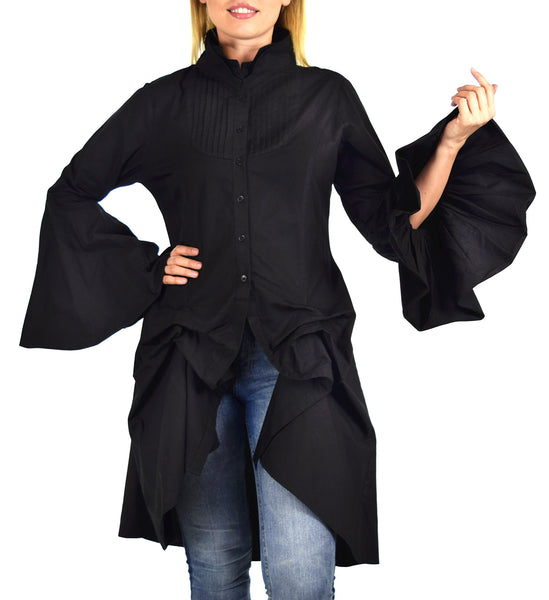 Dare2bStylish Women Western High Low Dress Shirt Blouse w/ Edwardian Sleeves | Reg & Plus Sizes