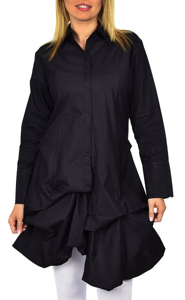 Puckered Look Button Down Uneven Swing Dress Shirt Top Plus Sizes
