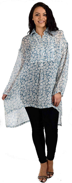 Zopali Plus Size Boxy. Relaxed Fit. Linen Breathable Full sleeve High Low Dressy Shirt Top