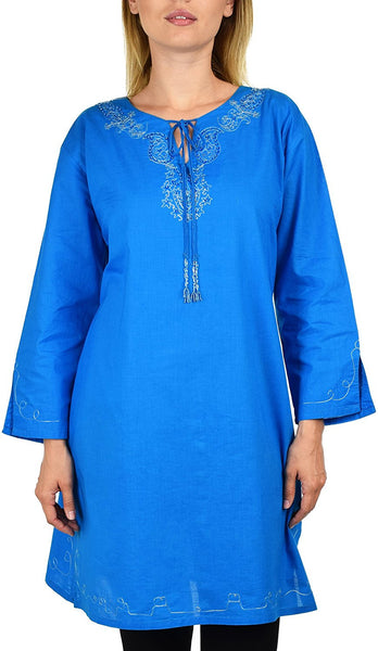 Embroidered Blouse Shirt Top w/ Drawstring Neck Reg and Plus Sizes