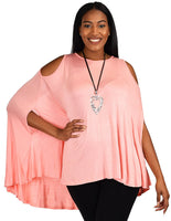 Plus Size Summer Batwing Cold Shoulder Tunic Blouse Top