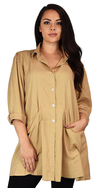 Button Down Tunic Blouse Shirt w/ Roll Up Sleeves